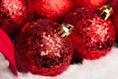 Christmas decorations on red basket — Foto Stock