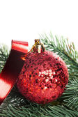 Christmas decoration balls with fir-tree — 图库照片