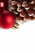 Christmas decoration with festive pinecone — Stock Photo