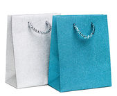 Blue and silver gift bags on white background — Foto Stock