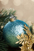 Branch of Christmas tree with decoration ball — 图库照片