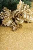 Branch of Christmas tree with decoration rose — Foto Stock