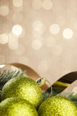 Branch of Christmas tree with decoration ball — Stockfoto
