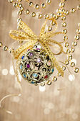 Christmas ball on shiny background — Stok fotoğraf