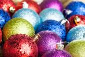 Many colored Christmas balls on the background — Zdjęcie stockowe