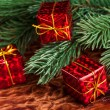 Branch of Christmas tree with gift box — Stock Photo #59910925
