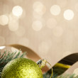 Branch of Christmas tree with decoration ball — Stock Photo #59911351