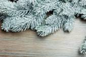 Branch of Christmas tree on a wooden surface — Стоковое фото