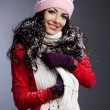 Beautiful fashionable woman with snow — Stock Photo #67491809