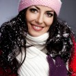 Beautiful fashionable woman with snow — Stock Photo #67491837