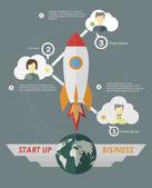 Start Up Concept Symbol Space Roket Ship Sky Icon Trendy — Stok Vektör