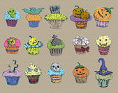 Big set halloween cupcakes — Stock Vector