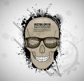 Smiling Sketched skull — Stock Vector
