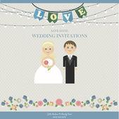 Wedding Card Invitation with wedding figures — Stock Vector