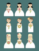Set of brides in flat style — Stock Vector