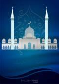 Ramadan Kareem card with mosque — Stock Vector