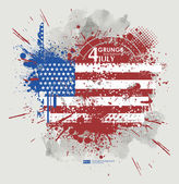 Fourth July with American flag — Stock Vector