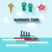Summertime background with hanging summer icons — Stock Vector