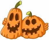 Hugging pumpkins — Stock Vector