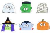 Halloween faces — Stock Vector