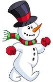 Snowman walking — Stock Vector