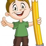 Boy holding big pencil — Stock Vector #72736421