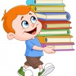 Boy carrying books — Stock Vector #78591056