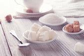 White and brown sugar — Stock Photo