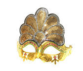 Carnival gold venetian mask isolated on white — Stock Photo
