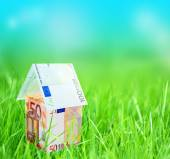 House from euro on green grass — Stock Photo