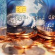 European money euros and credit's card background — Stock Photo #65041437