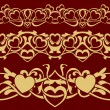 Gold valentine seamless border — Vetor de Stock  #60250667
