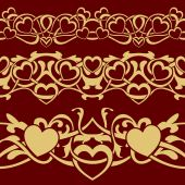 Gold valentine seamless border — Stock Vector