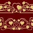 Gold valentine seamless border — Vetor de Stock  #61468765