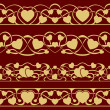 Gold valentine seamless border — Vetor de Stock  #61981415