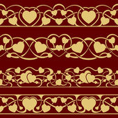 Gold valentine seamless border — Stockvektor