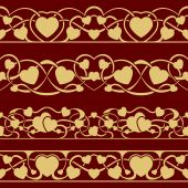 Gold valentine seamless border — Vetorial Stock