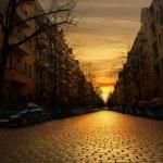 Cobblestone street at sunset — Stock Photo #70489097