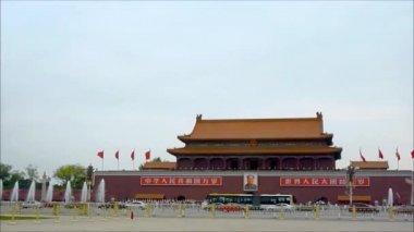 The entrance of the famous Forbidden City's Palace in the Tiananmen Square — Stock Video