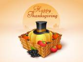 Thanksgiving Day celebration with veg, fruits and pilgrim hat in — Stock Vector