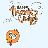 Happy Thanks Giving Day celebration with turkey bird. — Stock Vector