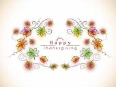Thanksgiving day celebration with maple leaf card. — Stock Vector
