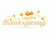 Thanksgiving day celebration with pumpkin and stylish text. — Stock Vector