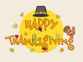 Thanksgiving day celebration with stylish text. — Stockvector