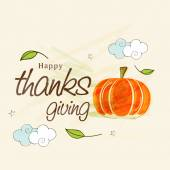 Thanksgiving day celebration with pumpkin and stylish text. — Vector de stock