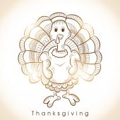 Thanksgiving day celebration with floral decorated shiny turkey  — Stok Vektör