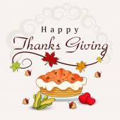 Thanksgiving day celebration with stylish text. — Stock Vector