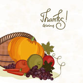 Thanksgiving day celebration with veg and fruits cornucopia. — Stock Vector