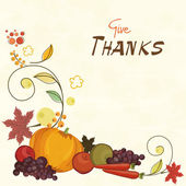 Thanksgiving celebration card with veg and fruits. — Stock Vector