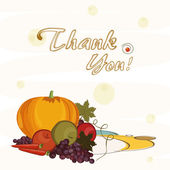 Thanksgiving day celebration with veg and fruits. — Stock Vector